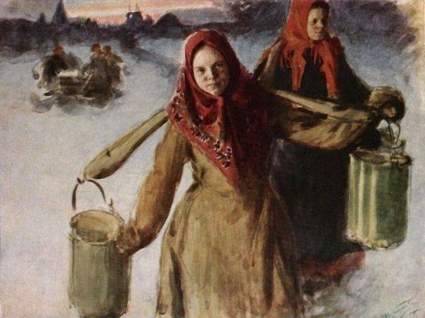 Два женских портрета на фоне…