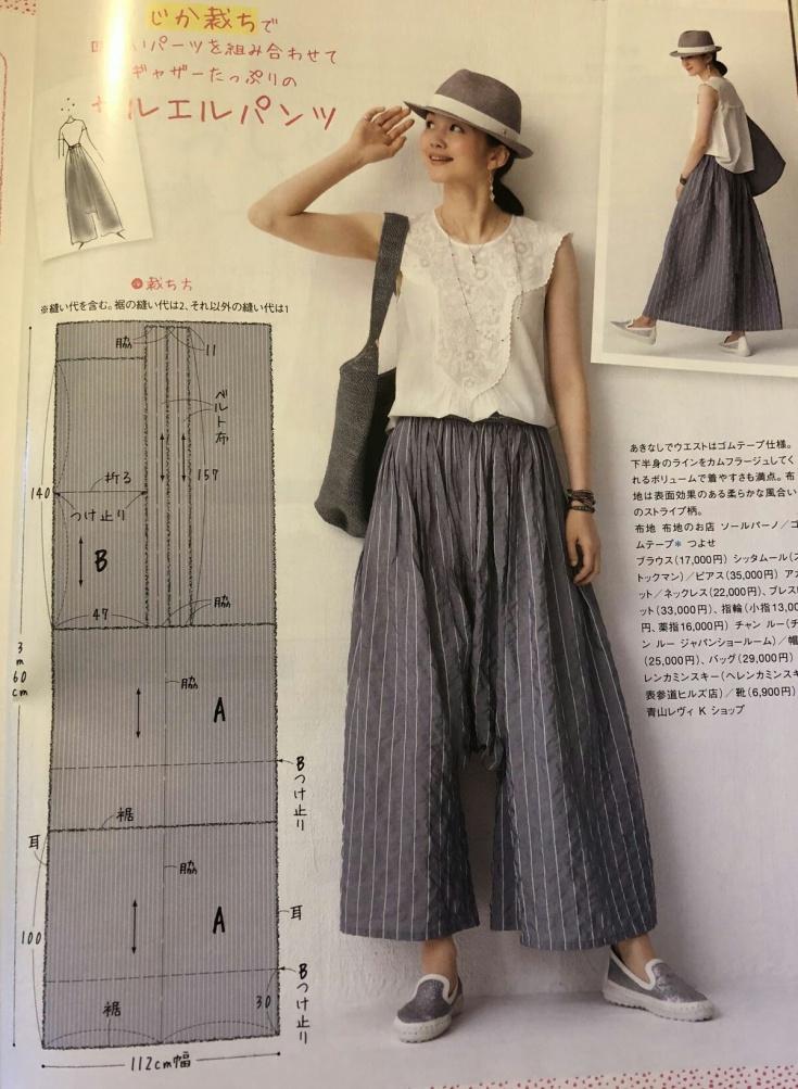 Выкройка японской юбки-брюки