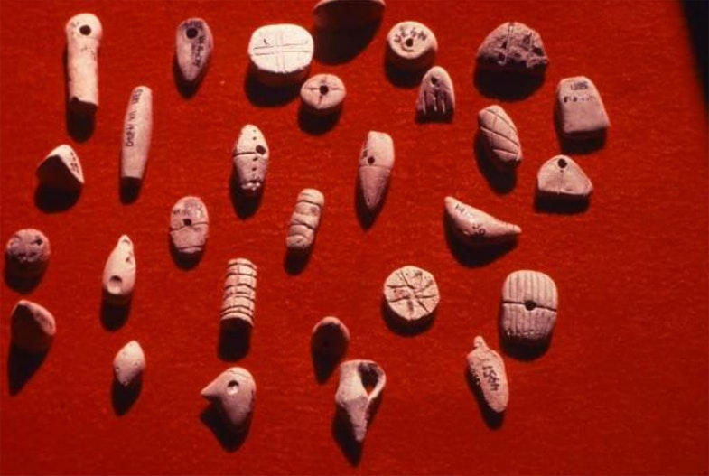 Tokens from Uruk, Iraq, ca. 3300 BC