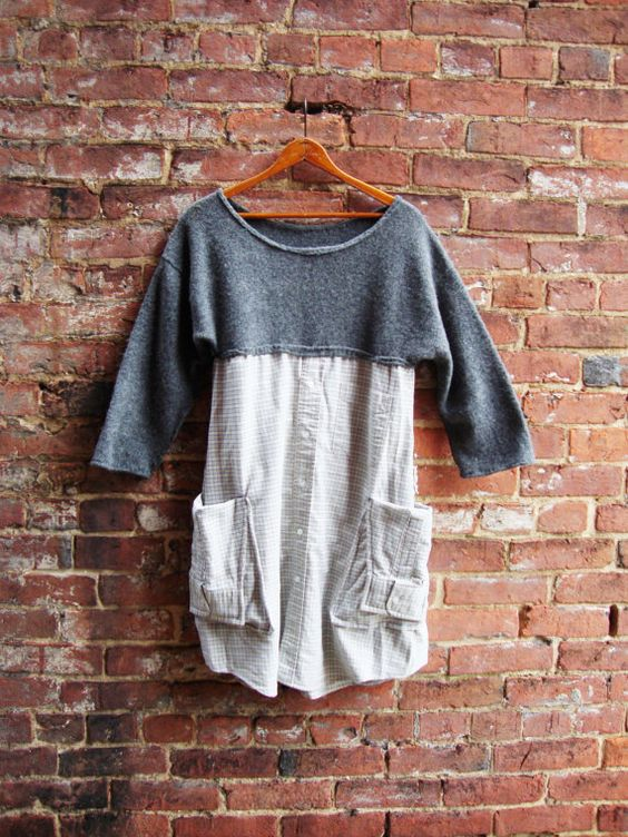 Sweater Dress/ Tunic Dress/Artisan Smock Dress/Gray Dress/Pocket Dress/ Upcycled Clothing: