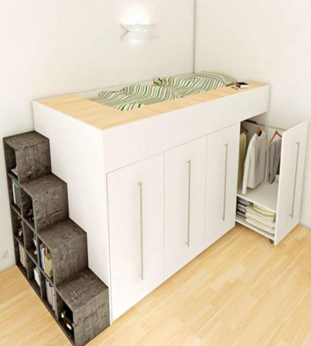 Рациональная организация спального места в малогабаритной квартире и квартире-студии. | Фото: pinterest.com.