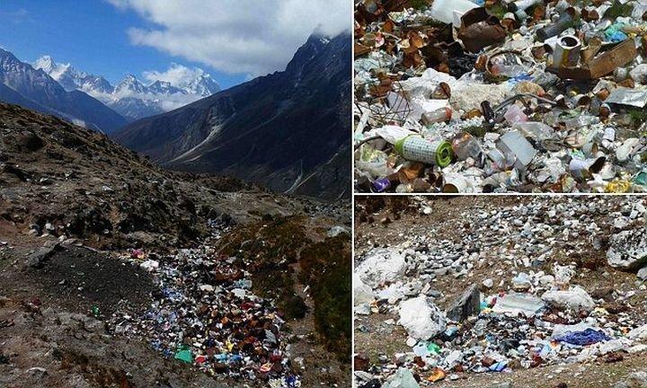 Эти шокирующие кадры показывают, что даже Эверест испытывает проблемы с отходами