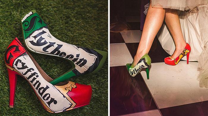 Необычные тематические туфли невесты.