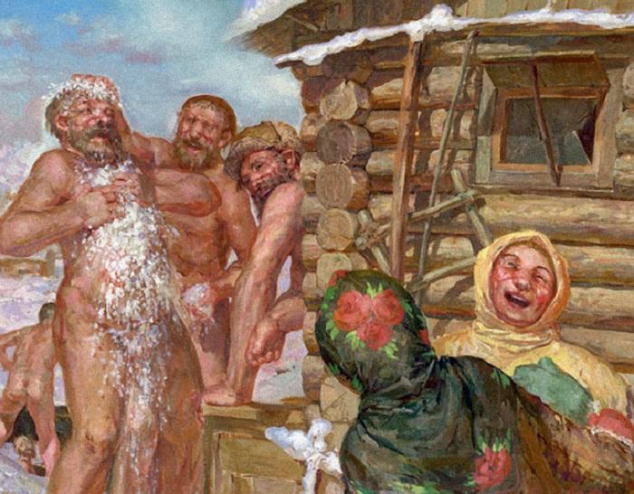 русские женщины голые купаются бане