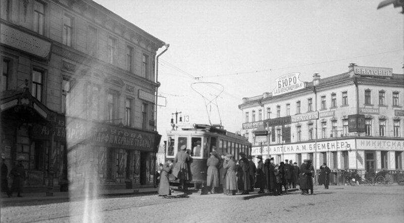 Трамвай у Никитских Ворот. Фото сер. 1910-х гг. история, ретро, фото