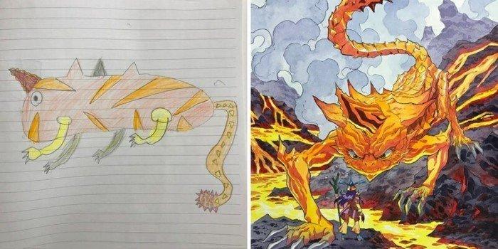 Художник превращается рисунки своих маленьких сыновей в профессиональные иллюстрации