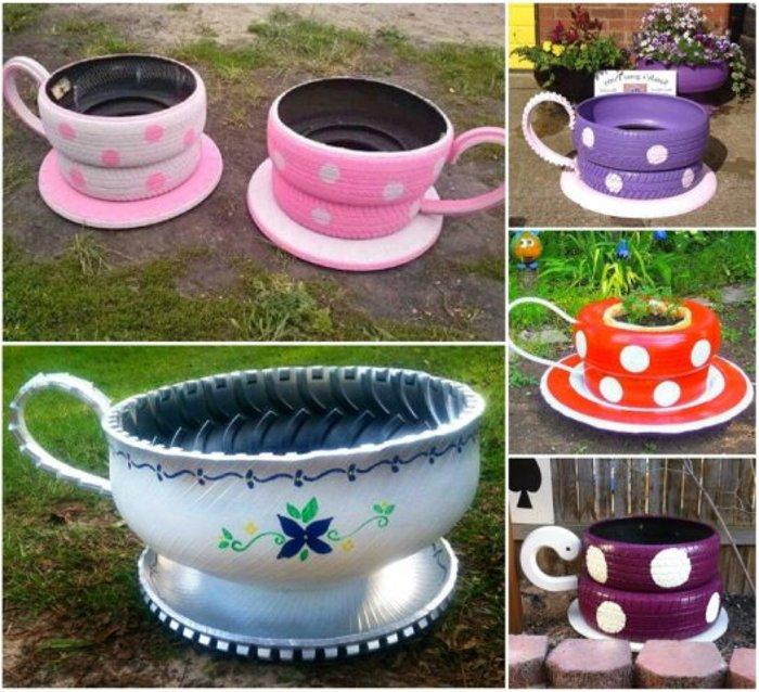 25 ярких идей как из обычных шин сделать украшение вашего двора!