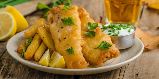 Рыба в кляре с соевым соусом