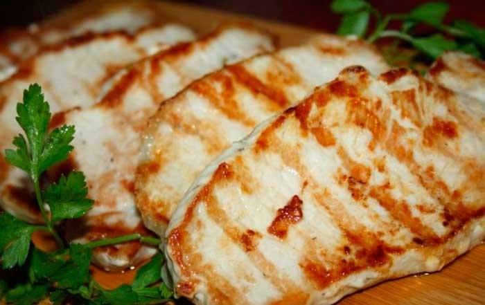 Эскалопы из свинины на сковороде-гриль мясные блюда,свинина