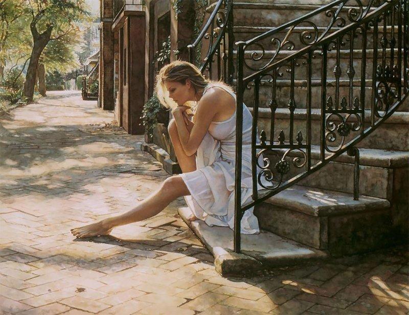 «Эмоции — это то, что я изображаю. Реализм — это то, как я это делаю» Стив Хэнкс, акварель, девушки, искусство, красота, рисунок, художник