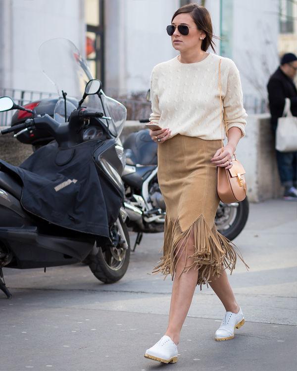 Фото трендовая бежевая юбка с бахромой
