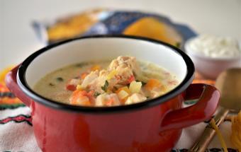 Густой куриный суп с лапшой