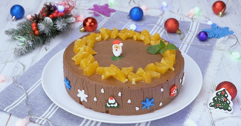 Муссовый торт с шоколадом и апельсинами: новогодний десерт