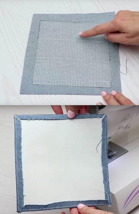 Трендовая сумочка из старых джинсов сделайте, ткани, 15х15, квадрат, прошейте, ручки, джинсы, квадратов, Приклейте, пополам, прогладьте, детали, другом, стороны, Прошейте, четыре, выкройку, утюгом, уголки, бокам