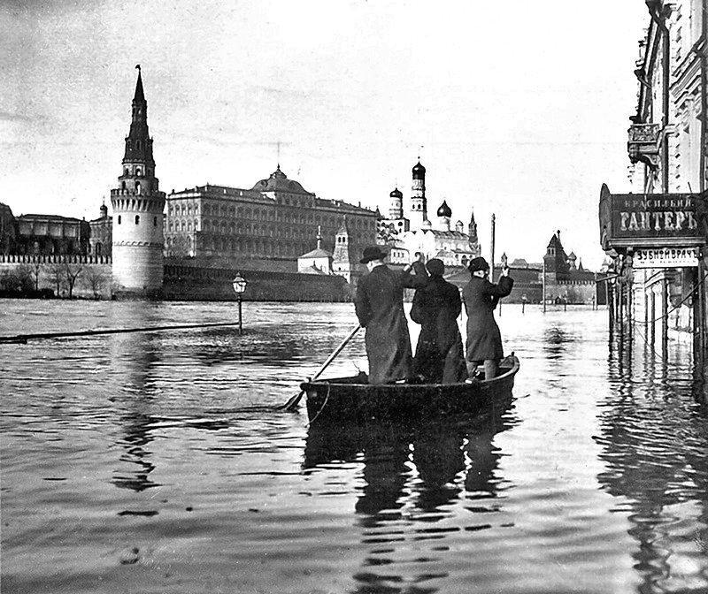 Наводнение в Москве, 11 апреля 1908 год Весь Мир в объективе, ретро, старые фото