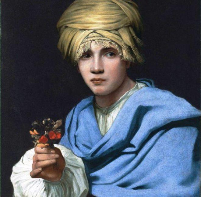 Картина Девушка с веточкой в руках
