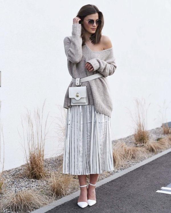 Фото серебряная юбка плиссе