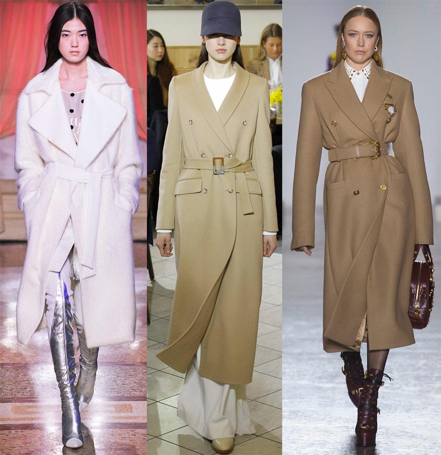Модное пальто с поясом зима 2018-2019