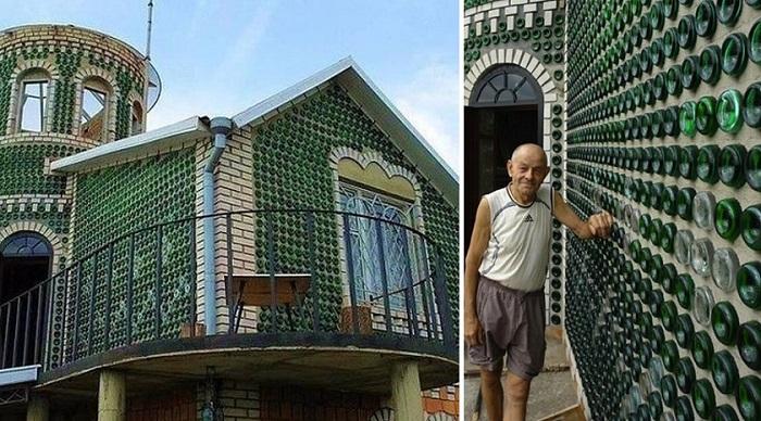 Дача украинского умельца, построенная из пустых бутылок
