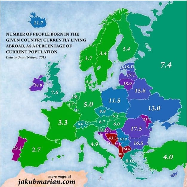 Процент уроженцев страны, жи…