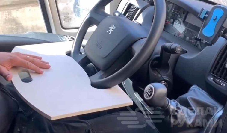 Автомобильный столик из фанеры с креплением на руль