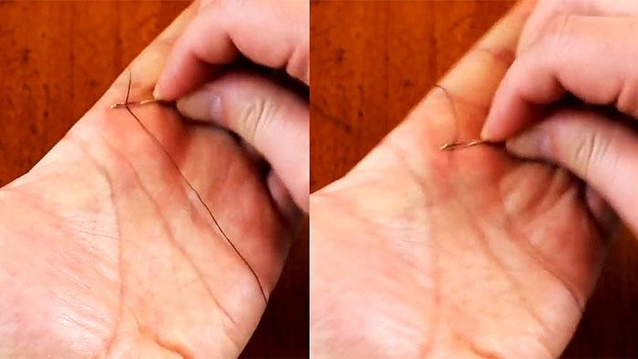 Способ мгновенно продеть нитку в иголку без всяких приспособлений полезные советы,рукоделие