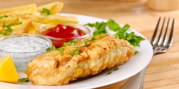 Рыба в кляре с луком, чесноком и йогуртом