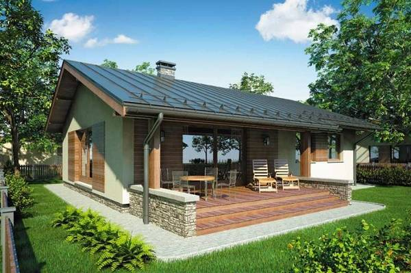 красивые одноэтажные дома с террасой, фото 69