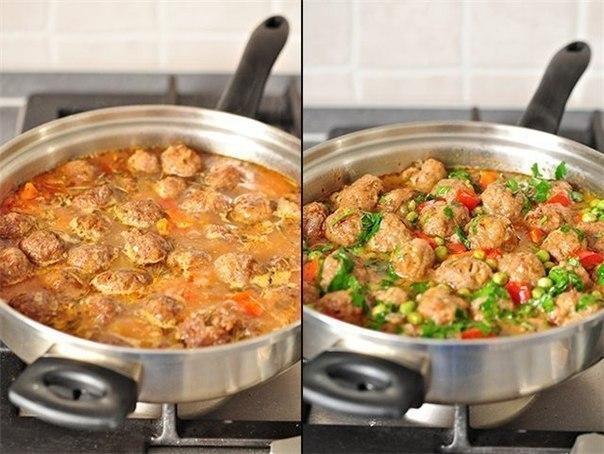 Обалденное овощное рагу с фрикадельками