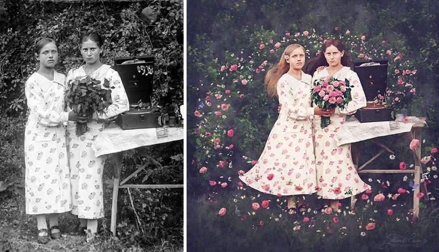 Художница превращает старинные фотографии в красивые иллюстрации