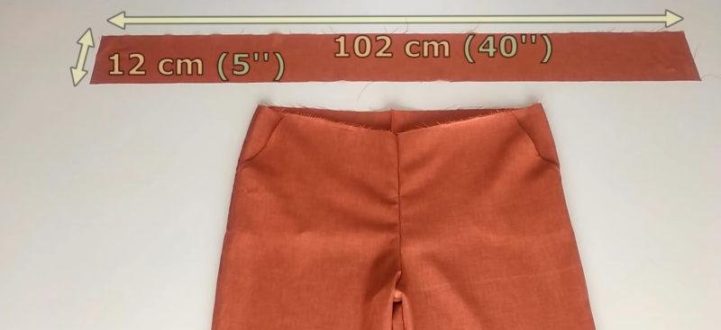 Как легко сшить укороченные брюки со сборкой на талии ткани, отложите, длиной, шириной, ткань, линию, линии, половинки, отрезок, талии, сшейте, перпендикулярную, соедините, пересечения, бокового, брюки, передний, седалищные, Обработайте, внутренний