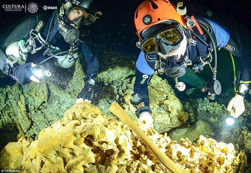 В подводных пещерах Мексики нашли уникальные артефакты цивилизации майя