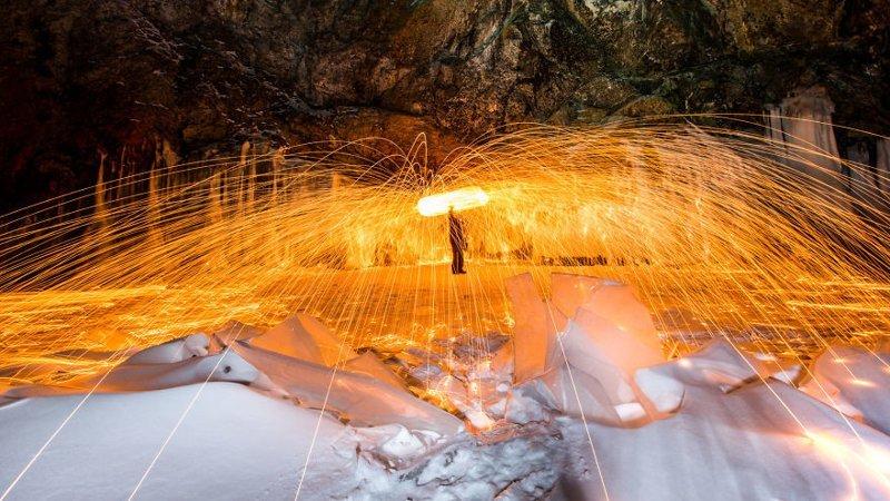 Огонь во льдах Зимняя сказка, байкал, зима, красота, лед, снег, фото, фоторепортаж