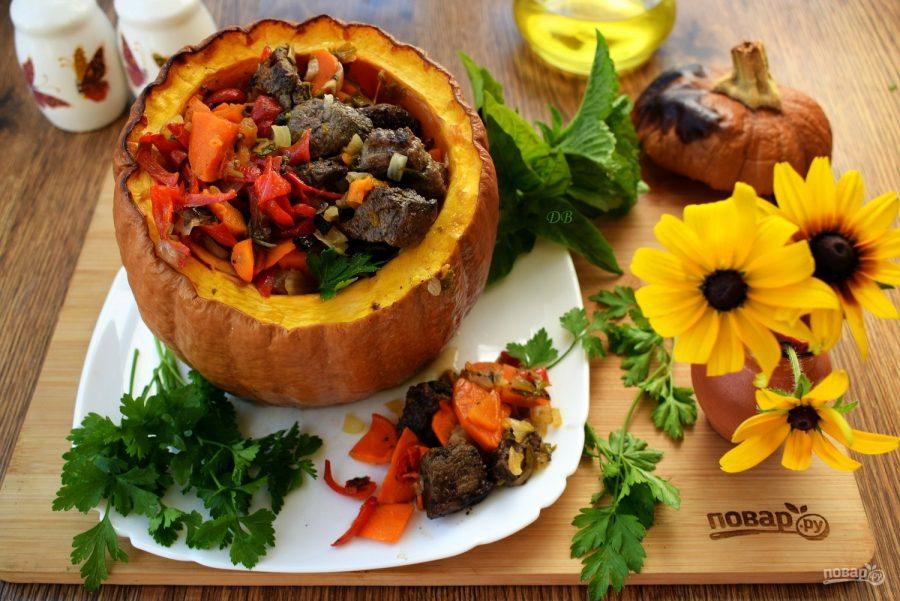 Тыква с мясом и овощами в духовке