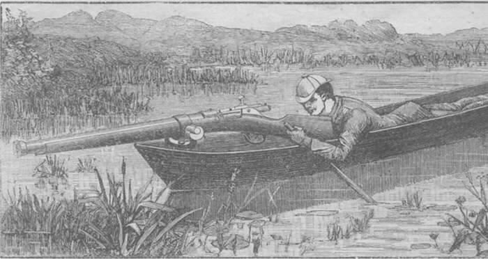 Охотник в лодке с пунтовым ружьём. Источник изображения: twipu.com