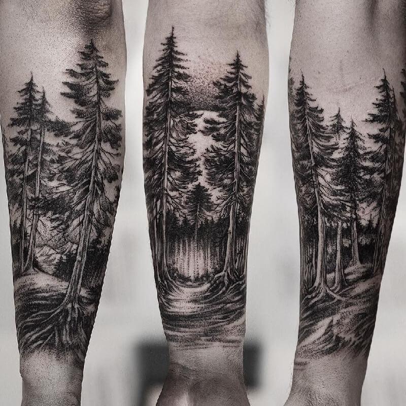 тату лес на руке эскиз фото том числе это