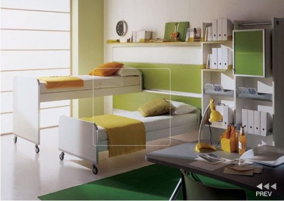 Функциональная салатовая детская комната