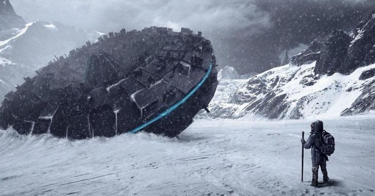 Фотография огромного НЛО разбившегося во льдах Антарктиды