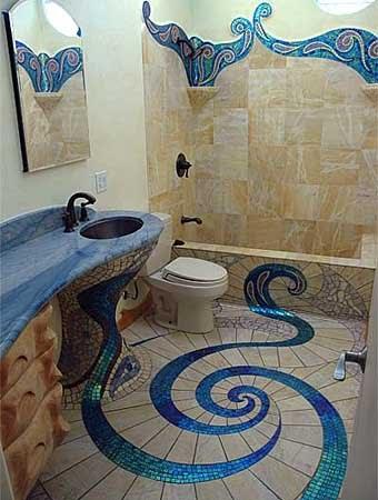 Необычная плитка для ванной: мозаика в интерьере
