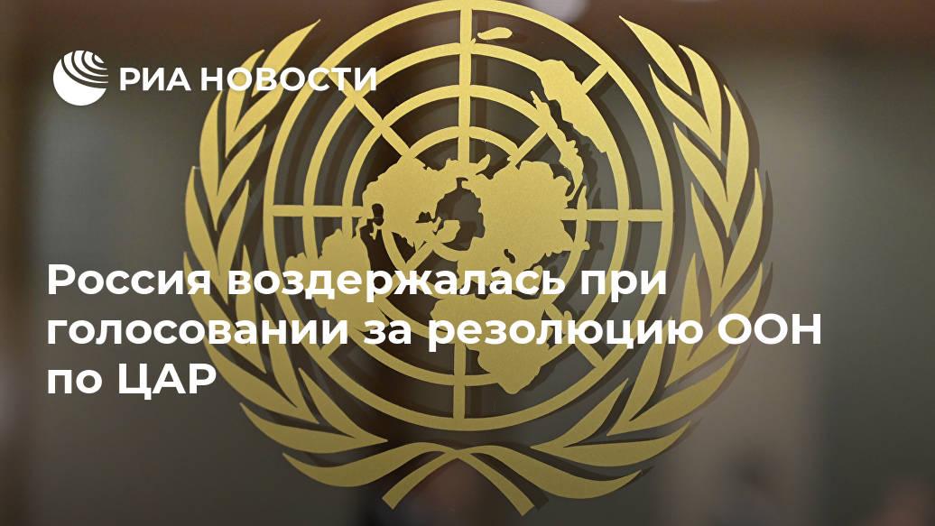Россия воздержалась при голосовании за резолюцию ООН по ЦАР