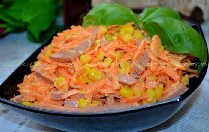 Частый гость на моем столе — Салат с копченой колбасой и морковью