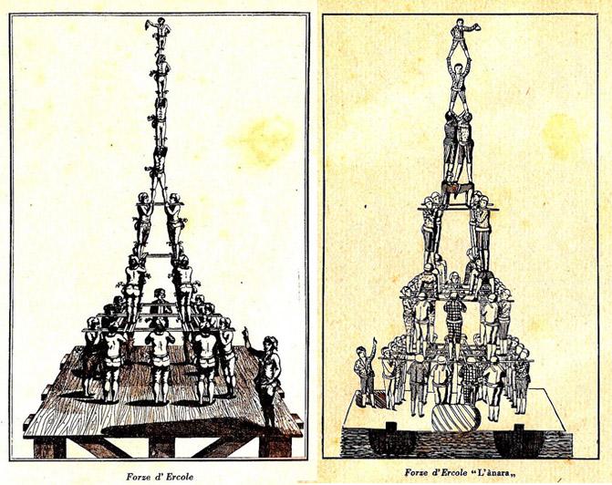Гравюра-схема гимнастической пирамиды в Венеции, XVIII век