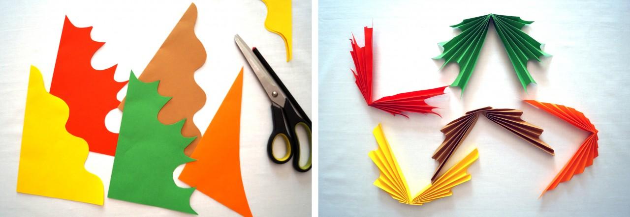 кленовый лист из цветной бумаги образец как делать далеко