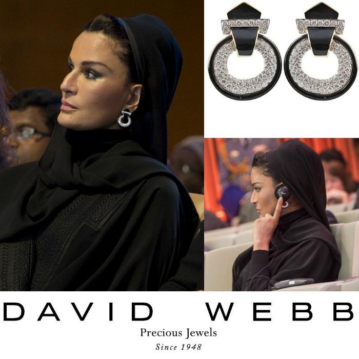Серьги от David Webb - бриллианты, черная эмаль, золото и платина. Серьги выполнены в стиле ар-деко, однако год создания - 1974.
