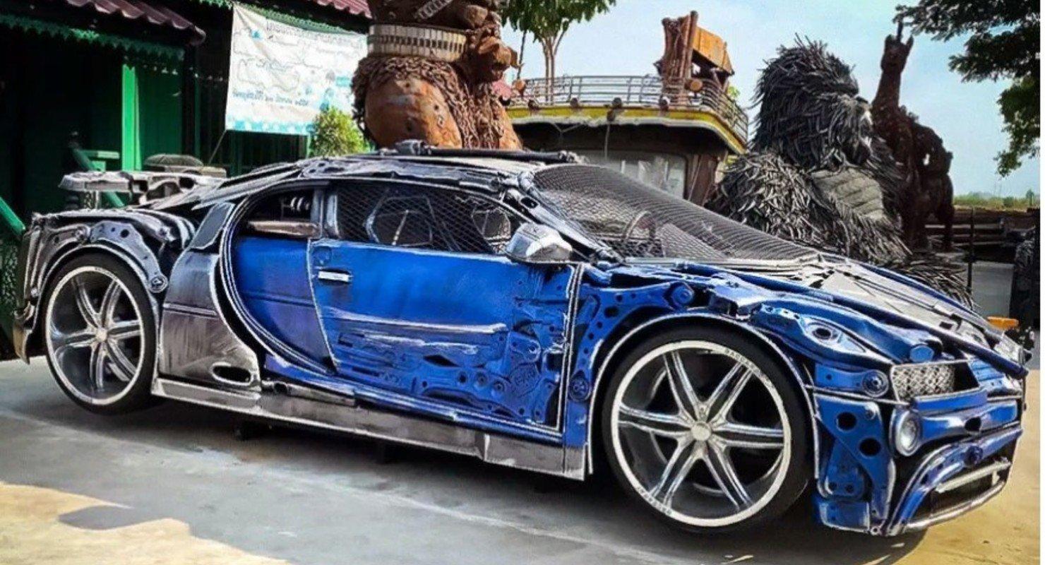 В Сети показали гиперкар Bugatti Chiron, сделанный из металлолома Автомобили
