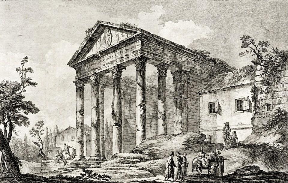 Vue d'un Temple de Pola en Istrie