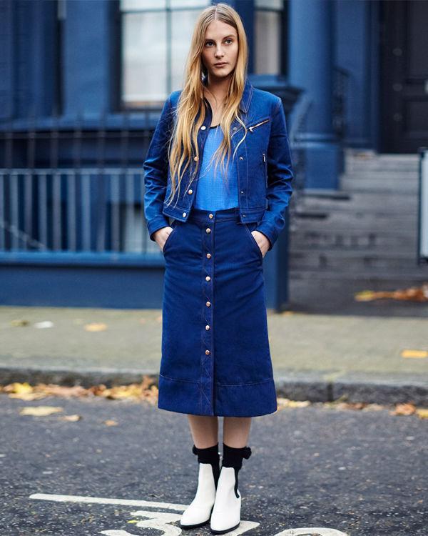Фото джинсовая юбка с джинсовкой