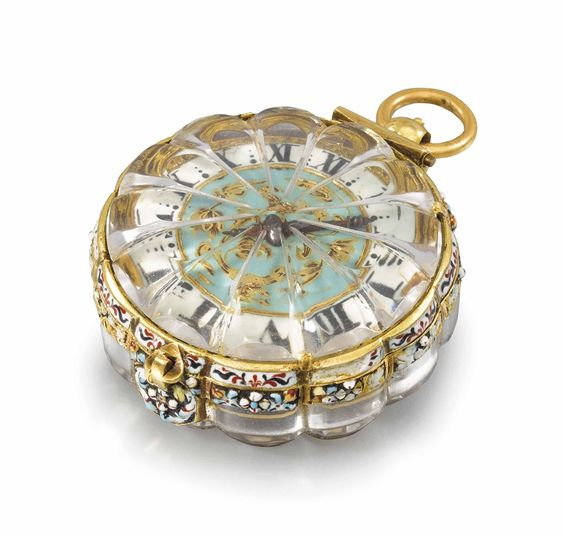 AN EXTREMELY FINE, RARE AND EARLY 22K GOLD, ENAMEL AND ROCK CRYSTAL SINGLE HAND PENDANT WATCH - SIGNED PIERRE DUHAMEL, CIRCA 1660.: