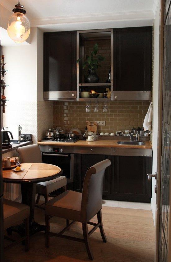Линейная планировка маленькой кухни