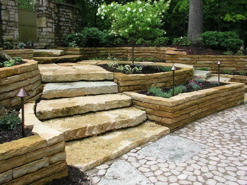 подпорные стенки из натурального камня
